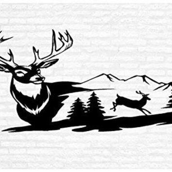 White Tail Deer Wall Decal Hunting Buck Man Cave Animal Rustic Cabin Lodge Mountains Hunting Vinyl Art Sticker Graphic Home Decor