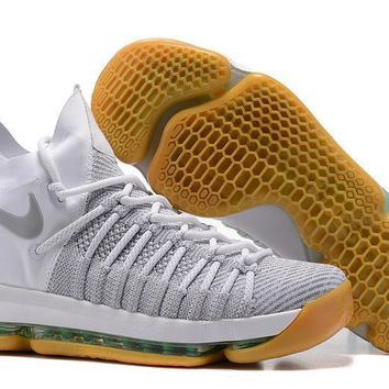 auguau Nike Men's Durant Zoom KD 9 Flyknit Mid-High Basketball Shoes White 40-46