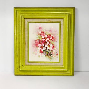 Vintage Oil on Canvas Floral Bouquet Pink Light Pink Bright Pink Blue Lime Green Frame Signed S. Dressey Knife Style Oil Painting Framed