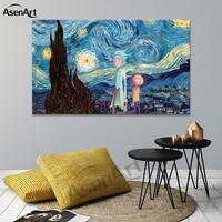 Wall Art Cartoon Rick and Morty Canvas Poster Printed Painting Modern Picture for Living Room Home Decorative Unframed