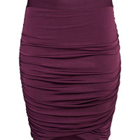 H&M - Draped Skirt - Burgundy - Ladies