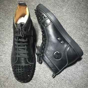PEAPUX5 Cl Christian Louboutin Lou Spikes Style #2202 Sneakers Fashion Shoes