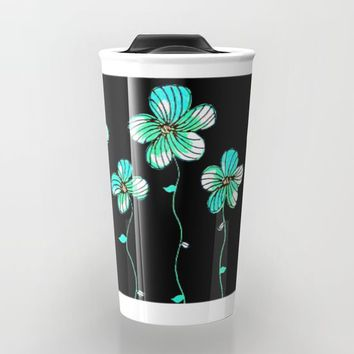 Green Flowers Travel Mug by ES Creative Designs