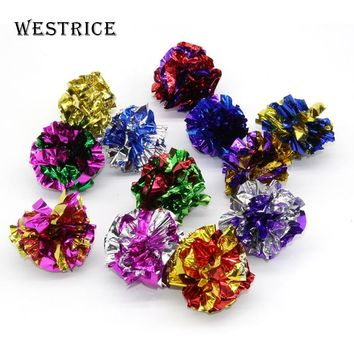 Westrice 4 Small 4cm Ball Toys Cat Toys Value Pet Colorful Mini Playing Mouse Toys Gift for Cats Dogs Kitten Packs Mylar Ball
