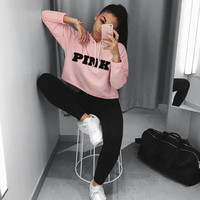 Fashion PINK Printing Hoodies Sweatshirts Jumper Crop Top Coat Crew Neck Women Clothing Loose Short 2017