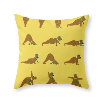 Society6 Yoga Bear Classi Throw Pillow