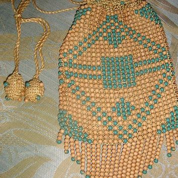 vintage painted wooden beaded Art Deco Flapper Purse