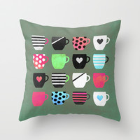 Time for tea Throw Pillow by Elisabeth Fredriksson