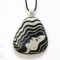 Original stone art pendant, black and gray necklace. Original painting and design hand painted on stone realized as a unique pendant.