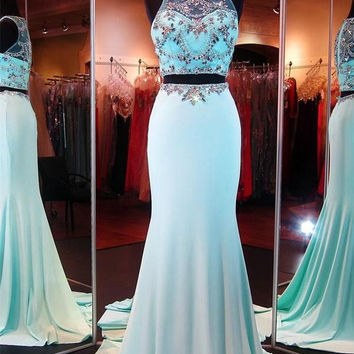 Two pieces long chiffon beaded prom evening dress P047