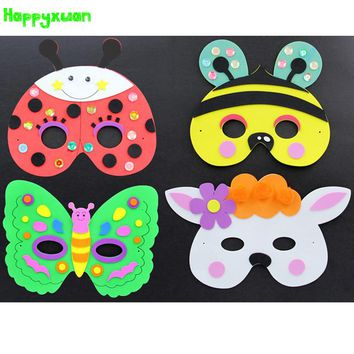 Happyxuan 5pcs/lot DIY Eva Cartoon Animal Mask Kids Party Handmade Crafts Kits Frog Prince Butterfly Bee Ladybug Rabbit