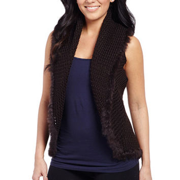 Crochet Knit Vest With Hand Laced Rabbit Trim