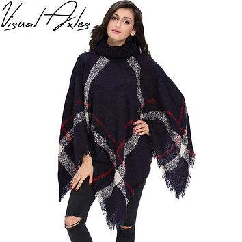 [Visual Axles] 2017 Plus Size Winter Warm Women's Wool Turtleneck Sleeveless Pullovers Plaid Knit Sweater Poncho