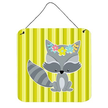 Raccoon with Flowers Wall or Door Hanging Prints BB7095DS66