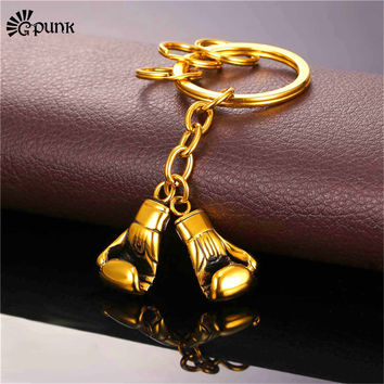 gold plated boxing gloves keychain couple metal key holder 316L stainless steel boxing glove key ring sport key chain Gift K21G