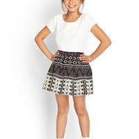 FOREVER 21 GIRLS Tribal Print Skirt (Kids) Black/Cream