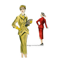 1950s VOGUE SUIT PATTERN Couturier Jacket & Skirt Pattern Pointed Front Hemline, Pockets Vogue 559 Bust 34 Vintage Women's Sewing Patterns