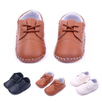 Baby Boys Girls Crib Shoes Kids PU Soft Sole Loafers Toddler Shoes Sneakers US