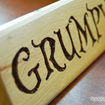Grumypy or Dreamy,  Alter-Ego Name Plaque, Desk Sign, Carved Wood,  ABC's Once Upon a Time, by The Jolly Geppetto