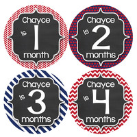 Personalized Baby Boy Monthly Stickers Style #487