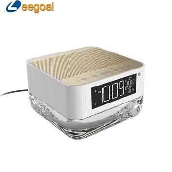 CrystalSoul Wireless Bluetooth Speaker with Rhythm Colorful Light Alarm Clock Radio TF Card Player Remote Control Lamp Subwoofer