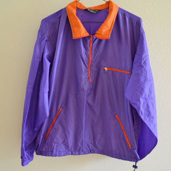 Purple & Orange Windbreaker Half Zip Jacket Oversized 90s Vintage XL