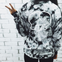 Tie Dye Women Long Sleeve Cute Elephant Pattern Sweatshirt Ivory Ella Letters Printed Pocket Pullover Tops