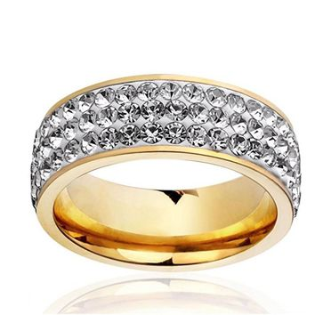 New three row clear crystal Stainless steel Wedding rings fashion jewelry promise Rings For Couples