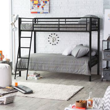 Twin Over Twin Bunk Bed In Black Metal Finish With Ladder & Safety Rails