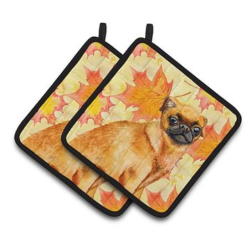 Small Brabant Griffon Fall Pair of Pot Holders BB9928PTHD