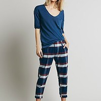 Free People Womens Plaid Relaxed Washed Pant