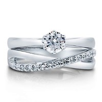 BERRICLE Sterling Silver AAA 0.67 Carat Cubic Zirconia CZ Solitaire Women Wedding Bridal Ring Set