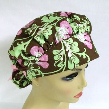 Bouffant Womens Surgical Scrub Hat or Cap Sweet Jasmine in Brown