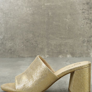 Seychelles Commute Gold Suede Leather Peep-Toe Mules