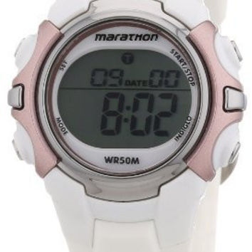 Timex Marathon Chronograph White Rubber Ladies Watch T5K647