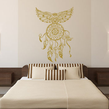 Dream Catcher Decal Owl Wall Decals Bedroom Hippie Native American Vinyl Sticker Bohemian Bedding Home Decor Nursery Dorm Living Room T179