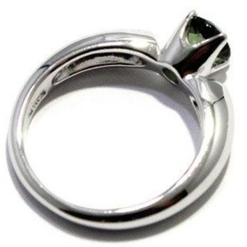 Faceted Moldavite Ring Solitaire Prong Sizes 6-12 Tektite 925 Sterling Silver