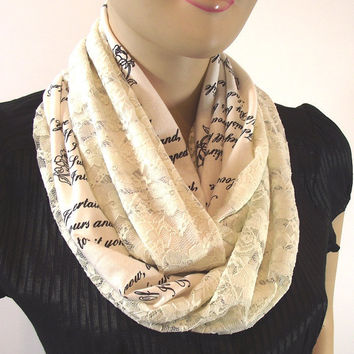EMILY DICKINSON Love Poems Book Text and Lace Infinity Scarf Literary Scarf Hanprinted Loop Scarf Romatic Gift