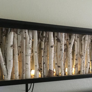 White Birch wall night lite