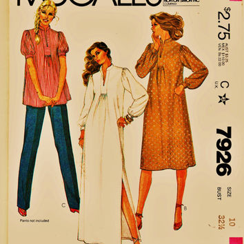 Lovely Retro Maternity Pattern McCall's 7926 Top, Dress, or Maxi Sz 10 Uncut FF Expectant Mother Fashion Sewing Patterns Supplies