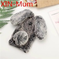 Rabbit Fur Hair Bunny Warm Furry Plush Cover Rhinestone Soft Phone Case for Iphone 6 6s 6 Plus 6s Plus 7 7 Plus 8 8 Plus X