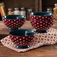 "The Pioneer Woman Retro Dots 6"" Footed Bowl, 4-Pack - Walmart.com"
