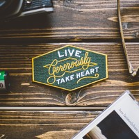 Live Generously Iron-On Patch - Take Heart Apparel Co.