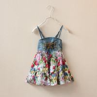 EMS/DHL/FEDEX/UPS Free Fast Shipping 2015 Summer Girls Flowers Tiered Suspender Drawstring Dresses Children Vintage Floral Tying Denim Dress