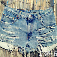 High Wasted Jean Shorts SMALL by UnraveledClothing on Etsy
