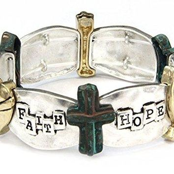 Faith Hope Love Stretch Bracelet Christian Cross Scripture Jewelry