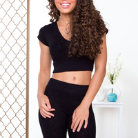 Like Fire Ribbed Crop Top - Black