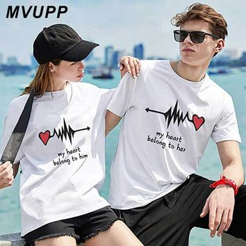 King Queen Letter Print Casual Couples T Shirt Valentine men Women Femme Loves O-Neck Tee Tops Shirt Summer Cotton Clothes Heart