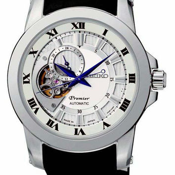 Seiko Mens Premier Automatic - Stainless - White Dial -Leather Strap