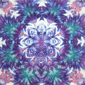 Tie dye tapestry wall hanging trippy mandala purple green pink